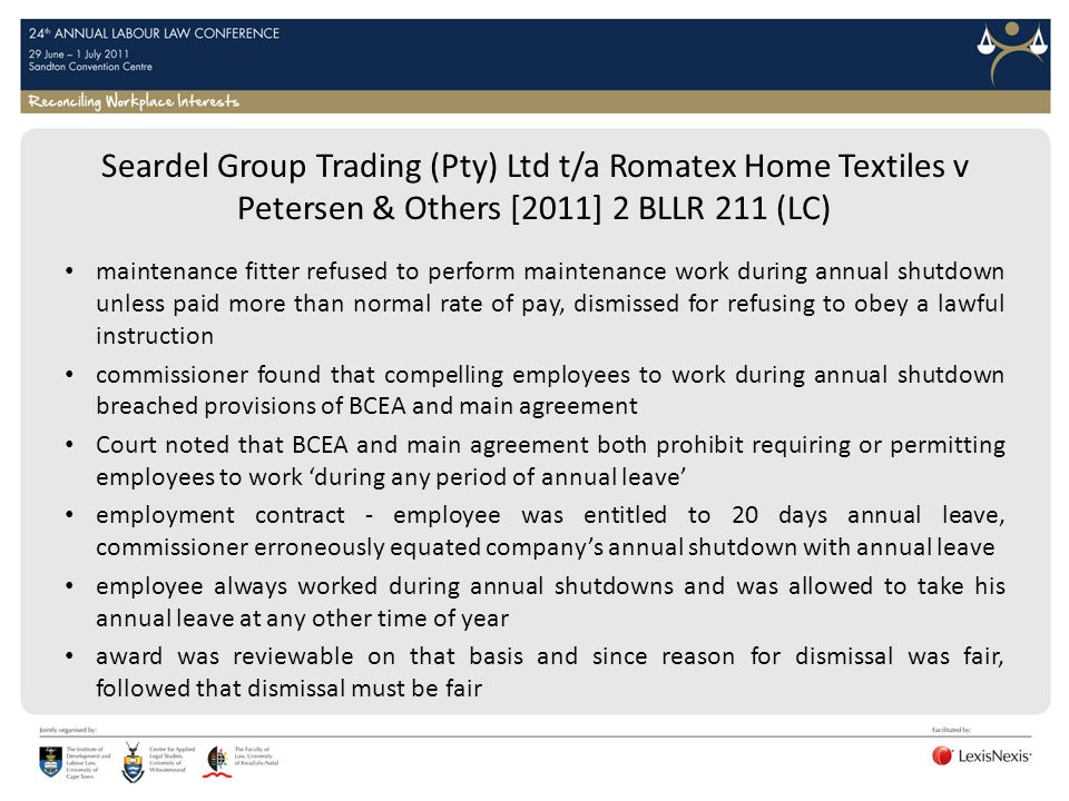 Seardel Group Trading (Pty) Ltd t/a Romatex Home Textiles v Petersen & Others [2011] 2 BLLR 211 (LC)